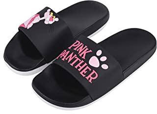 Irsoe Pink Panther Women's and Girls Latest Slide Flip Flop Slippers (Black)