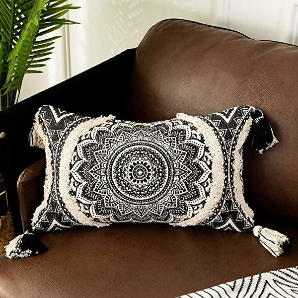 OJIA Decorative Lumbar Throw Pillow Cover Bohemia Black And White Pillow Cases Moroccan Neutral Cream Accent Cushion Cover With Tufted Tassel For Farmhouse Living Room Home Decor 12 X 20 Inch