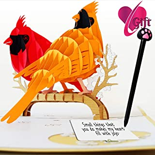 3D Pop Up Cards | Cardinal Bird Cards Anniversary | Pop Up Birthday Card | Pop Up Card For Christmas, Valentines, Mother's Day, Birthday, New Year, Baby, Wedding