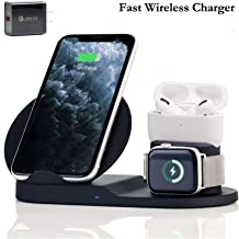 Wireless Charger,3 in 1 Wireless Charging Stand for Apple Watch, Dock for AirPods Pro, Qi-Certified Wireless Charger for iPhone 11 Pro Max/11/xr/8/Xs/Samsung/All Qi Phones, with AC Adapter