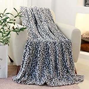 FY Fiber House Flannel Fleece Throw Blanket, Lightweight Cozy Plush Microfiber Bedspreads for Adults,60 by 80-Inch,Grey Leopard