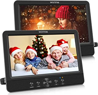 "WONNIE 10.5"" Dual Screen DVD Player Portable CD Players for Car with Two Mounting Bracket, 5-Hour Rechargeable Battery, Pl..."