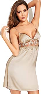 SheIn Women's Sexy Floral Lace Mesh Sleeveless Satin Cami Sleep Dress Gold