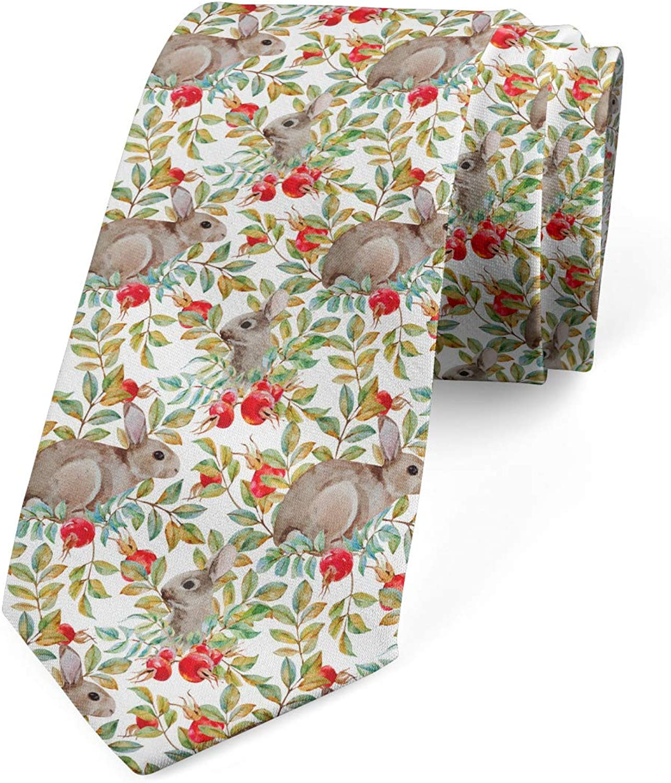 Ambesonne Necktie, Pattern of Rabbits Dog Roses, Dress Tie, 3.7