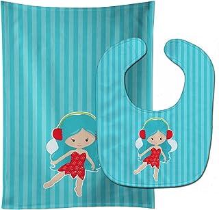 Blue Haired Fairy Baby Bib & Burp Cloth
