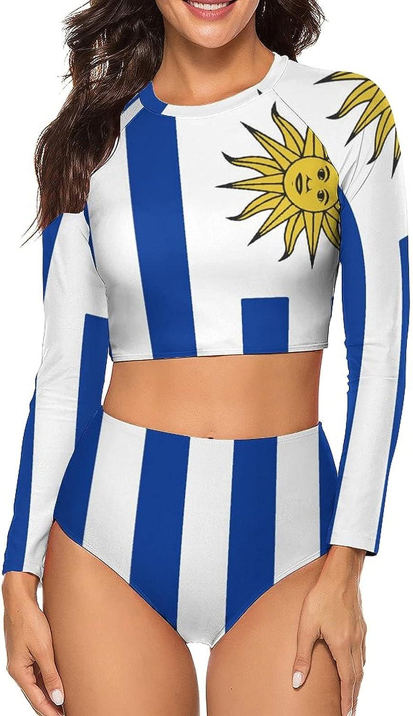 Tvsuh-u Women's Bathing Suits 2 PCS Flag of Uruguay Long Sleeve Rash Guard Swimsuits