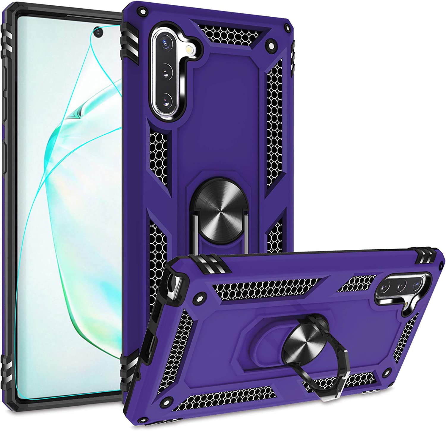 Compatible for Samsung Galaxy Note 10 Case with HD Screen Protector, Gritup Military-Grade Magnetic Kickstand Ring Dual Layer Shockproof Protective Phone Case for Samsung Note 10 Purple