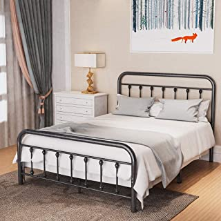Noillats Metal Bed Frame Full Size with Vintage Headboard and Footboard, Premium Stable Steel Slat Support Mattress Founda...