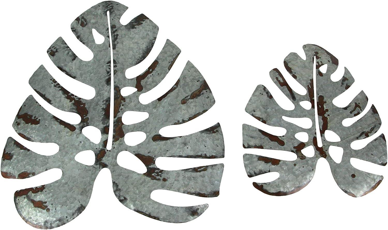 Set of 2 Galvanized Zinc Finish Metal Monstera Leaf Sculptures Wall Hanging Tropical Decor