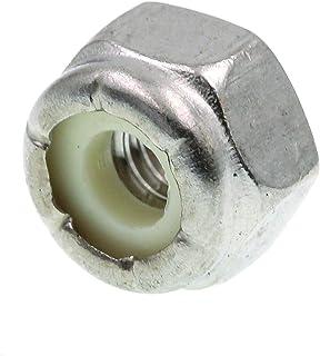 Powlankou 100 Pieces M5 x 0.8mm 304 Stainless Steel Self-Lock Nylon Inserted Hex Lock Nuts