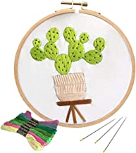 Unime Full Range of Embroidery Starter Kit with Partten, Cross Stitch Kit Including Embroidery Cloth with Color Pattern, Bamboo Embroidery Hoop, Color Threads, and Tools Kit (Light Cactus)