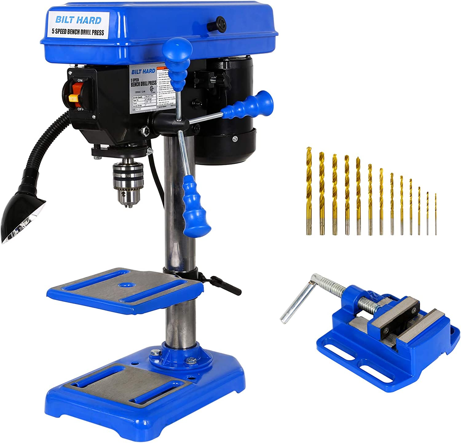 BILT HARD TL-DP85-W 8-Inch 5-Speed Drill Press with Worklight and Drill Vise