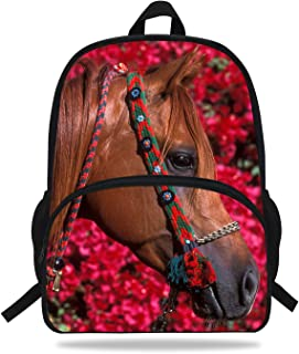 16-Inch Beautiful Horse Print Bag For Children School Animal Backpack For Teenagers Girls (D1081)