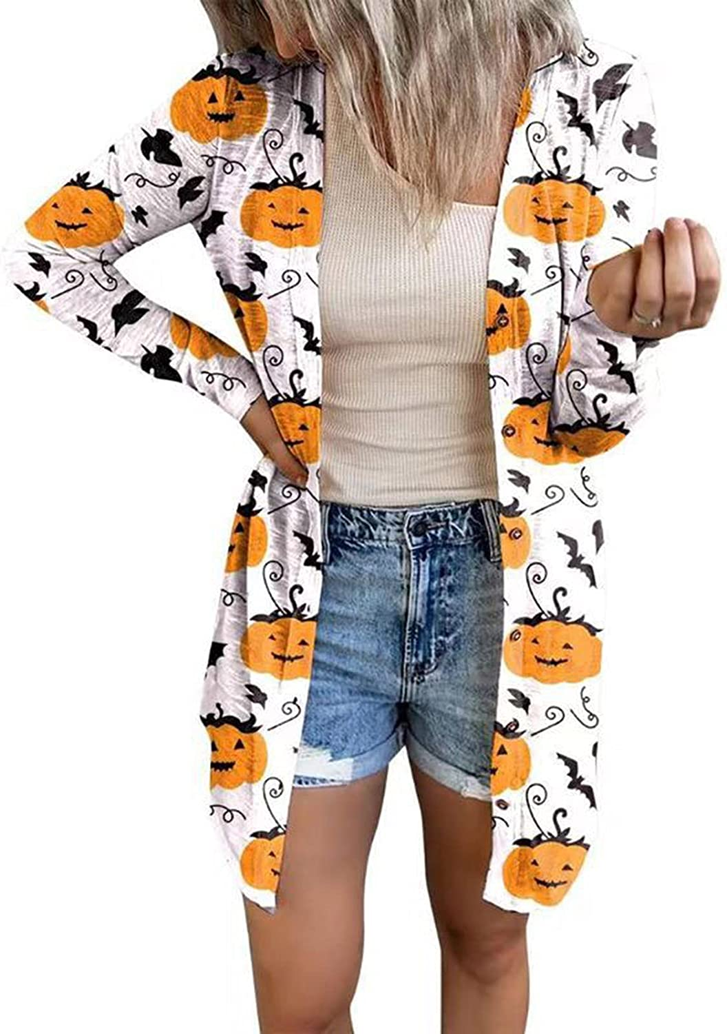 Halloween Coat for Women Fall Casual Tops Open Front Cardigan Pumpkin Graphic Long Sleeve Relaxed Fit Blouse
