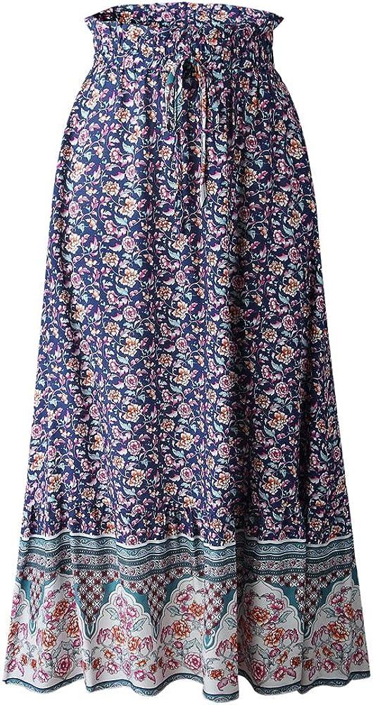 N /A Women Floral Printed Elastic Waist Tie A Line Bohemian Beach Long Maxi Skirt