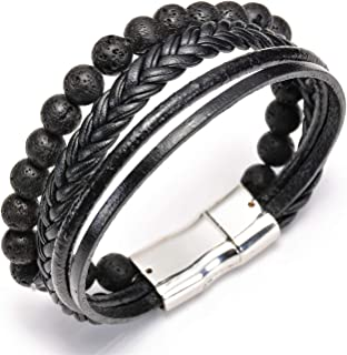 ASHMITA Genuine Leather Bracelet for Men Black Stainless Steel Magnetic Clasp Cuff Bangle 7.5-8.5 Inch