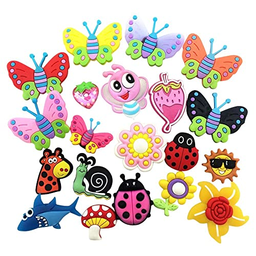 7ef9bdf41 20 Butterfly Dragonfly Ladybug Flowers Charms Fits Jibbitz Croc Shoes   Wristband  Bracelet