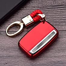 Royalfox(TM) 5 Buttons TPU Smart Remote Key Fob case Cover for Land Rover Defender Discovery Sport LR2 LR3 LR4 Range Rover Sport EVOQUE and Jaguar XF XJ XJL XE F-PACE (red)