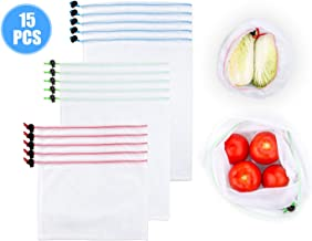 LANIAKEA Reusable Mesh Produce Bags,15 Pcs Eco-Friendly Washable Storage Bags Fruit and Vegetable Shopping Bags Drawstring Bags for Grocery Shopping Travel and Toys Set (5 Large, 5 Medium, 5 Small)