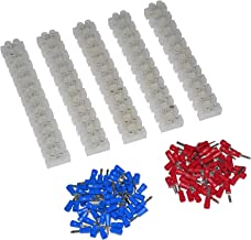 5Pcs 2 Rows 12P Wire Connector Screw Terminal Barrier Block 300V 10A + Insulated Electrical Wire Connector: 22-16 AWG Red/Blue 120 Pcs
