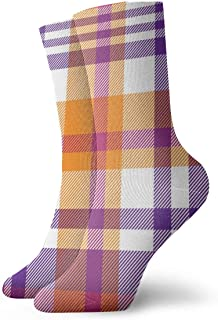 Pink Orange Plaid Madras Seamless Pattern Vintage Soft Thick Knit Casual Crew Boot Socks