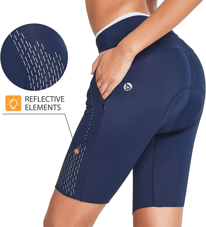 BALEAF Womens Bike Shorts 3D Padded 8 with Pockets Knee Length Cycling Biking Bicycle UPF 50+