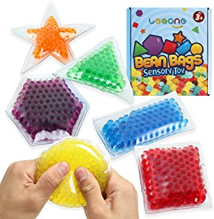 Sensory Water Beads Toy for Kids 6 Pack, Shapes Learning Toy for Toddlers, Fidget Stress Balls for Autism/ Anxiety Relief for Adults,Bean Bags Great for Cornhole Tossing Carnival Backyard Outdoor Game