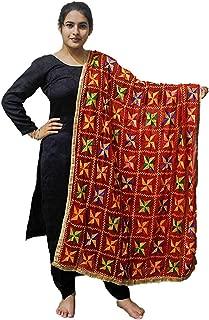 Sahej Suits Red Phulkari Pankha Dupatta