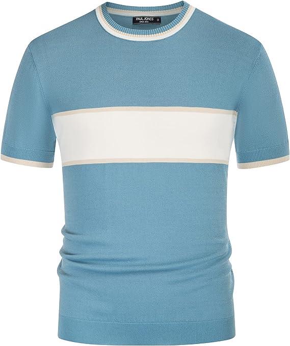1960s Mens Shirts   60s Mod Shirts, Hippie Shirts PJ PAUL JONES Mens Casual Color Block Contrast Pullover Sweater Crewneck Short Sleeve Knitwear  AT vintagedancer.com
