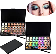 Huikai Popfeel 40 Colors Eyeshadow Palette Matte Shimmer Eye Shadow Makeup Powder Set with Brushes for Party for Show for Prom (Nude&Bright)