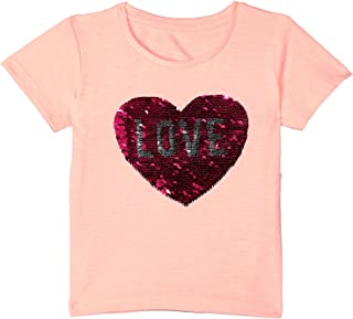 Matalan Round-Neck Sequin Embellished Heart Detail T-Shirt for Girls 3-4 Years