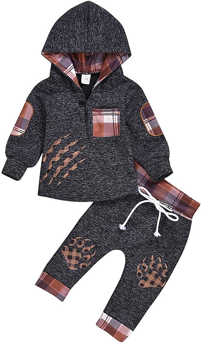 Newborn Baby Boy Clothes Set Plaid Cotton Hoodie Sweatshirt+ Long Pants Set Trousers Outfits