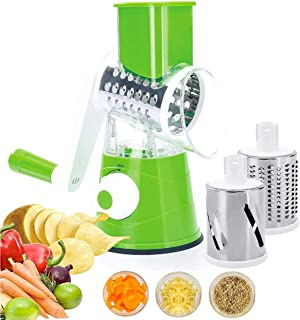 VOUM Food Chopper, Multi-Function Shredder Hand Roll Rotary Cutter Grated Cheese Tool with 3 Stainless Steel Rotary Blades...