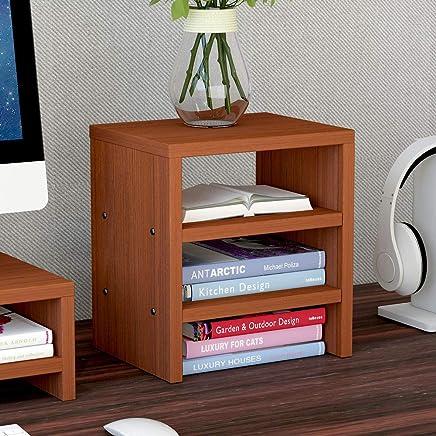 笔记本架子电脑显示屏增高架书架桌面键盘架整理收纳托盘抬高支架子显示器底座 (三层红色)