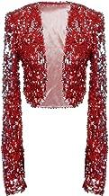 PrettyGuide Women Sequin Jacket Long Sleeve Sparkly Cropped Shrug Clubwear