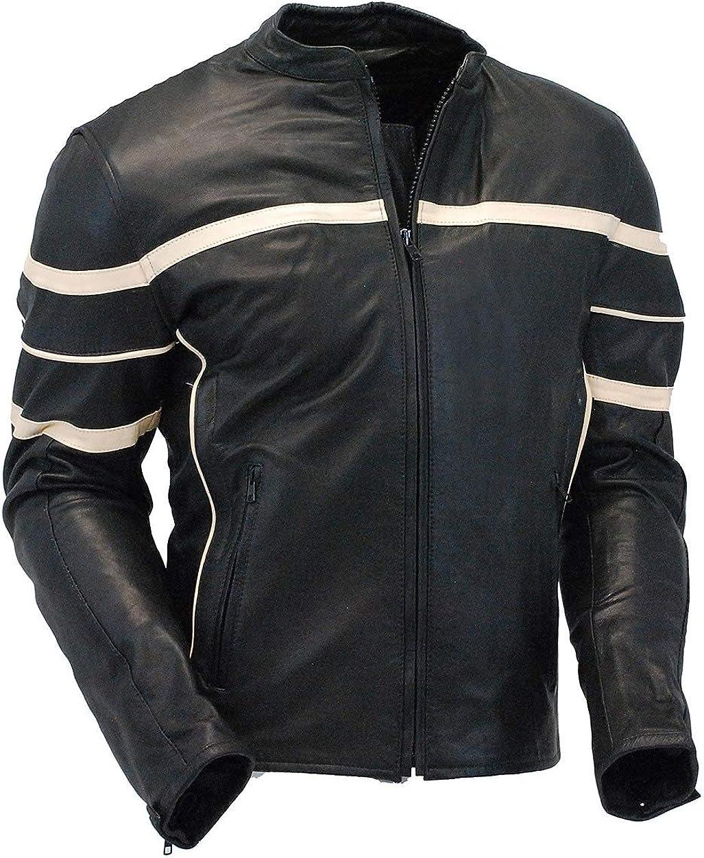 Jamin' Leather - Men's Cream Stripe Vented Racer Motorcycle Jacket w/Armor #M2532AVZC
