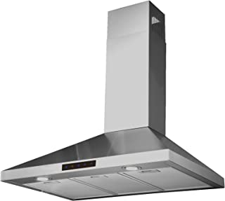 Kitchen Bath Collection 30-inch Wall-mounted Stainless Steel Range Hood with Touch Screen, Carbon Filters for Ventless Operation. High-end LED Lights Over 3x Brighter Than Competing Models