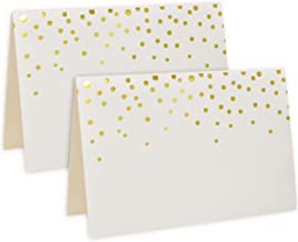 "100 Gold Foil Dots Place Cards for Weddings Party Event Dinner Buffet Table Setting Name Placecards 2.5"" x 3.75"" Gold Foil Dotted Tent Cards"