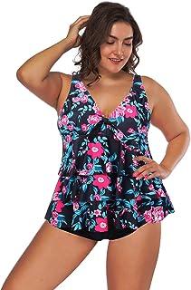 comprar comparacion Lover-Beauty Conjunto Bikini Mujer Dos Piezas Estampado Falda Verano para Playa Ropa de Baño Punto Floral Dama Escote V Si...