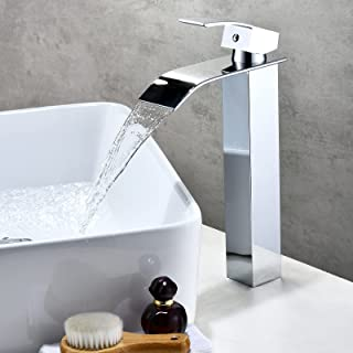Countertop Basin Tap Bathroom Sink Mixer Tap with Lever Single Handle Chrome High Rise Brass Tap