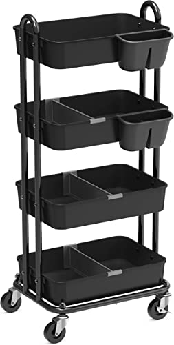 2021 SimpleHouseware 4-Tier lowest Multifunctional Rolling Utility Cart with Basket Dividers and new arrival Hanging Buckets, Black online sale