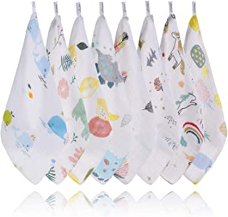 XelNaga Baby Washcloths Muslin 8 Pack, 100% Cotton Baby Face Towel and Wash Cloths for Bath, Soft Baby Muslin Cloths, Wipe...