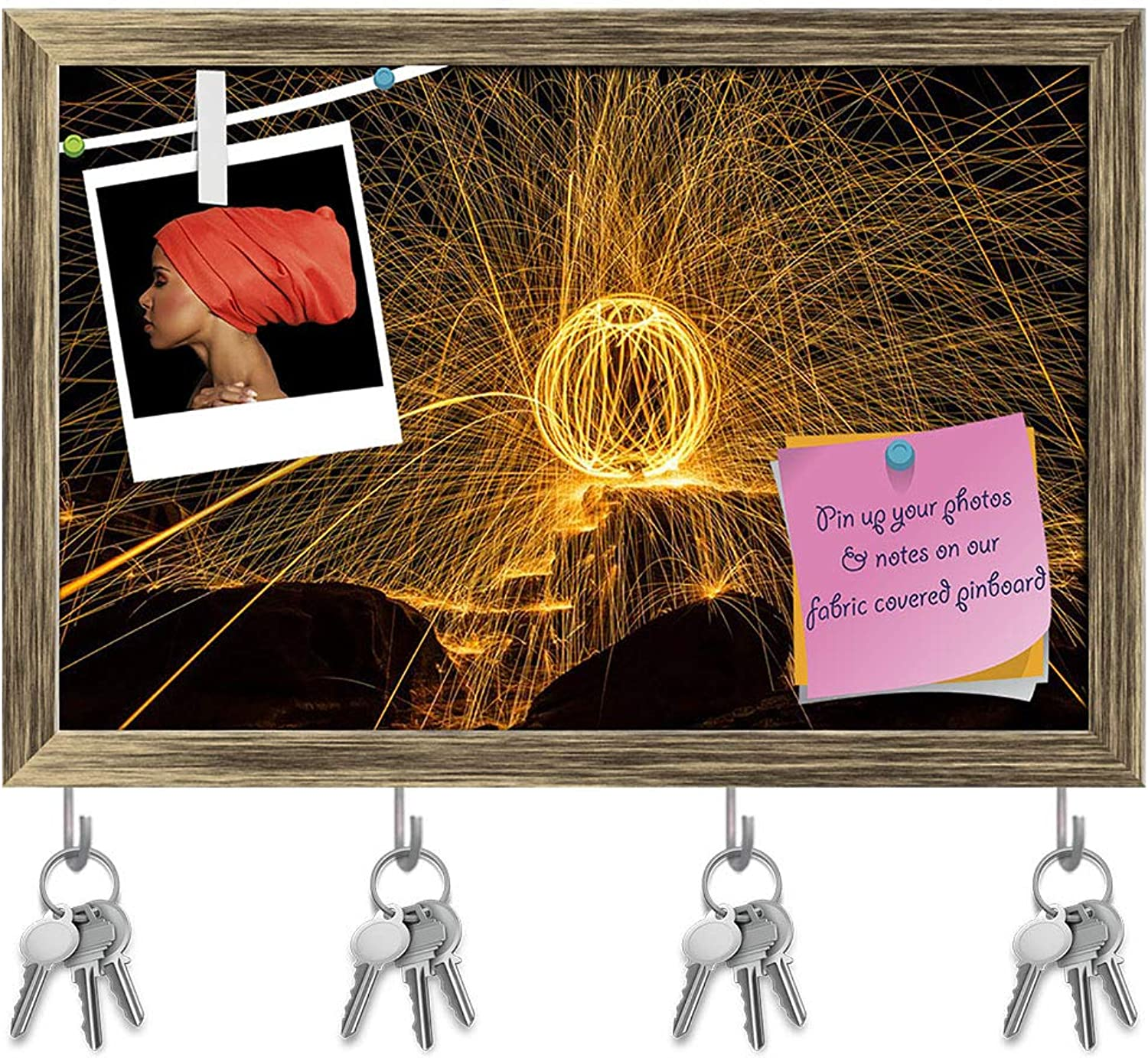 Artzfolio Fireball Show Key Holder Hooks   Notice Pin Board   Antique golden Frame 18 X 12Inch