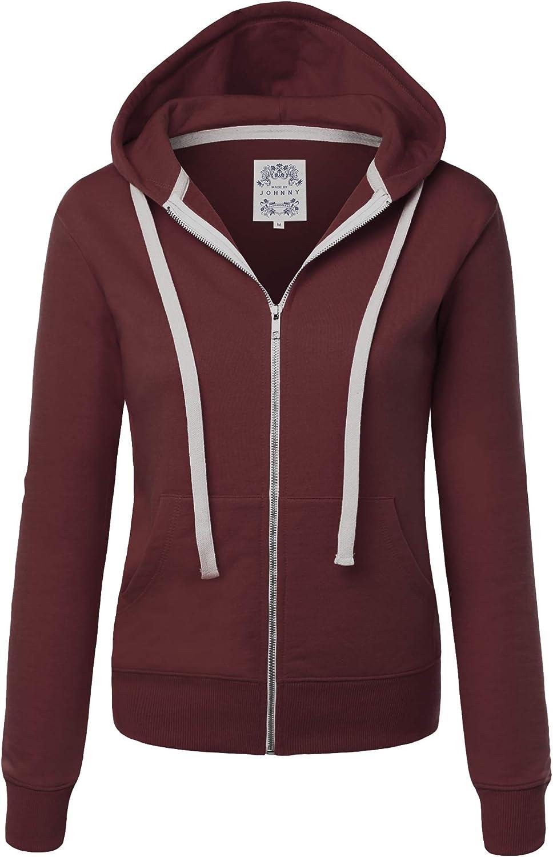 Made By Johnny Women's Active Casual Zip-up Hoodie Jacket Long Sleeve Comfortable Lightweight Sweatshirt