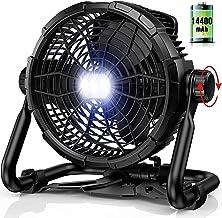 RUNACC Portable Ventilateur de Sol avec Lumière - 14400mAh Rechargable Banque de Puissance Ventilateur Silencieux 3500CFM...