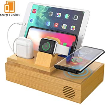 Goton Bamboo Wireless Charger Station with 4 USB Ports Wooden Charging Stations Wood Organizer Stand for Multiple Devices Compatible iPhone//Apple Watch//Airpods//Tablet and Qi-Enabled Smartphone