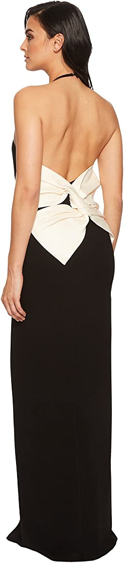 Halston Heritage Color Blocked Sleeveless Halter Gown w/ Back Bow