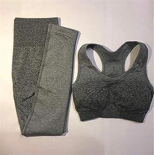 Women Seamless Yoga Sets Gym High Waist Ombre Leggings Bra Suits Sleeveless Fitness Training Sport Running Sportswear Bra ...