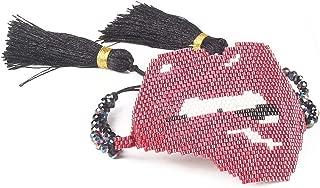 Worth Kiss Lips Adjustable Bracelet for Women Men Tassel Beaded Bracelet Charm Accessories Bijoux Femme,M-B0486-C