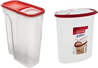 Rubbermaid Flip-Top Cereal and Food Storage Container, 22 Cup/5.2 Liter in Red bundle with Rubbermaid Flex and Seal Cereal Keeper Food Storage Container, 1.5 Gallon/5.68 Liter